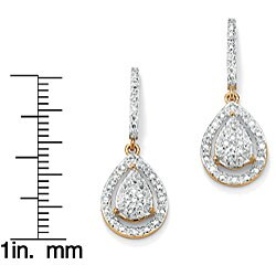 1/8 TCW Round Diamond 18k Gold over Sterling Silver Pear-Shaped Drop Earrings - Thumbnail 1