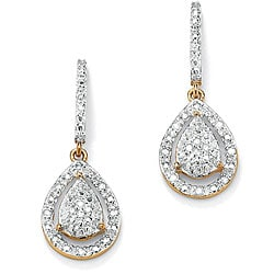 PalmBeach 1/8 TCW Round Diamond 18k Gold over Sterling Silver Pear-Shaped Drop Earrings