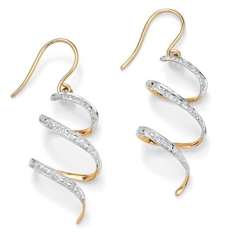 "Diamond Accent 10k Yellow Gold 1"" Ribbon Drop Earrings"