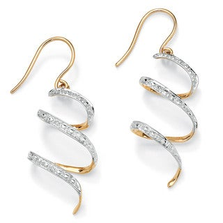 "Diamond Accent 10k Yellow Gold 1"" Ribbon Drop Earrings