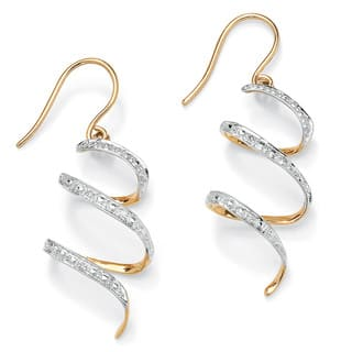 "Diamond Accent 10k Yellow Gold 1"" Ribbon Drop Earrings|https://ak1.ostkcdn.com/images/products/5245773/P13067370.jpg?impolicy=medium"