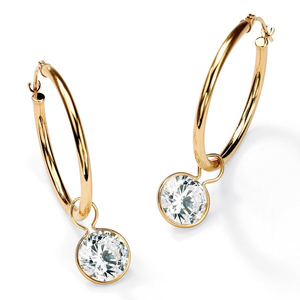 4.00 TCW Cubic Zirconia 10k Yellow Gold Bezel-Set Removable Charm Earrings Classic CZ