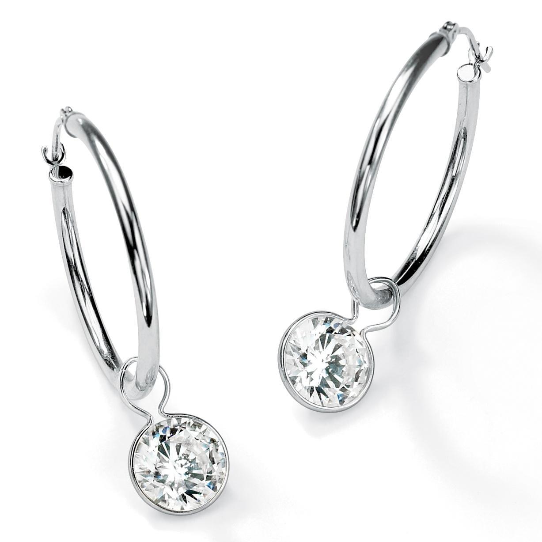 Ultimate Cz 10k White Gold Round Cubic Zirconia Hoop Earrings