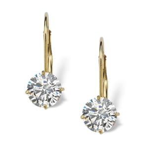 2.15 TCW Round Cubic Zirconia 10k Yellow Gold Lever-Back Drop Earrings Classic CZ