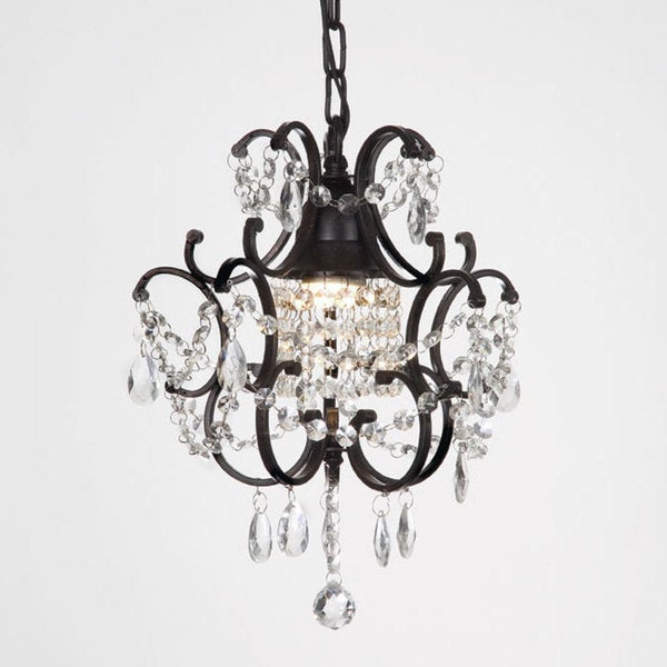 Laurel Creek Harper 1-light Black/ Crystal Mini Chandelier
