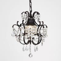 Copper Grove Lutea 1-light Black/ Crystal Mini Chandelier
