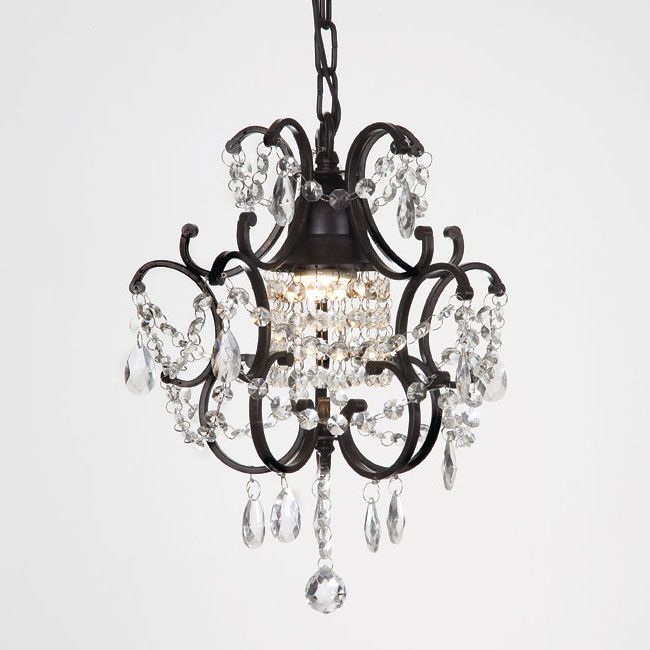 Gallery Versailles 1 Light Black Crystal Mini Chandelier