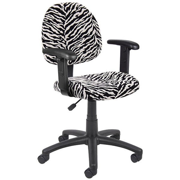Boss Zebra Microfiber Adjustable Task Chair with Lumbar Support