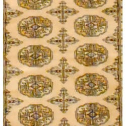 Pakistani Hand-knotted Beige/ Black Bokhara Wool Rug (2' x 3')