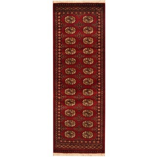 Herat Oriental Pakistan Hand-knotted Bokhara Red/ Ivory Wool Runner (2' x 6')