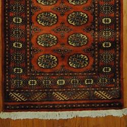 Pakistani Hand-knotted Rust/ Ivory Bokhara Wool Runner
