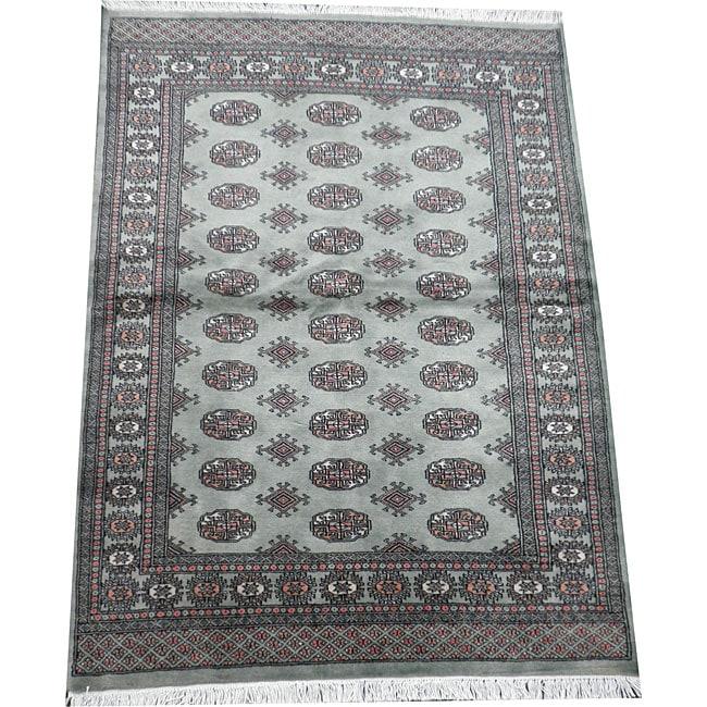 Herat Oriental Pakistan Hand-knotted Bokhara Lt. Green/ Ivory Wool Rug (4' x 6')')