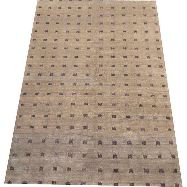 Nepalese Hand-knotted Brown/ Purple Tibetan Wool/ Silk Rug (6' x 9') - Thumbnail 0