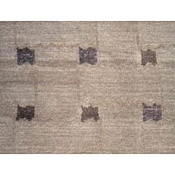Nepalese Hand-knotted Brown/ Purple Tibetan Wool/ Silk Rug (6' x 9') - Thumbnail 1
