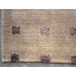 Nepalese Hand-knotted Brown/ Purple Tibetan Wool/ Silk Rug (6' x 9') - Thumbnail 2