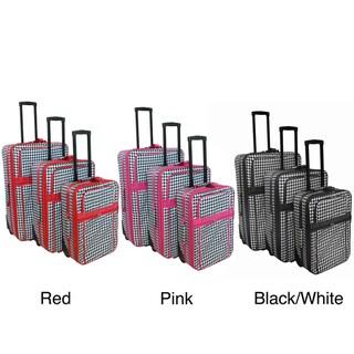 World Traveler 3-piece Houndstooth Expandable Luggage Set