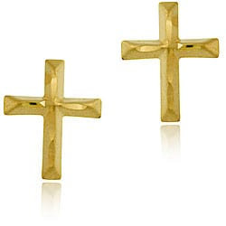 Mondevio 10k Gold Diamond-cut Cross Earrings