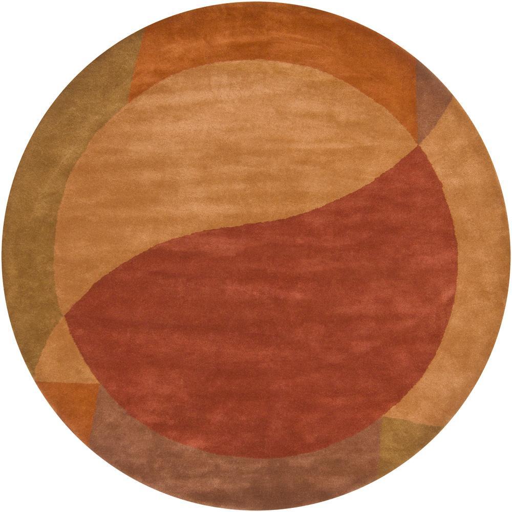 Hand-tufted Mandara Contemporary Orange New Zealand Wool Rug (7'9 Round)