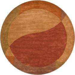 Hand-tufted Mandara Contemporary Orange New Zealand Wool Rug (7'9 Round) - Thumbnail 1