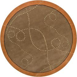 Artist's Loom Hand-tufted Contemporary Border Wool Rug (7'9 Round)
