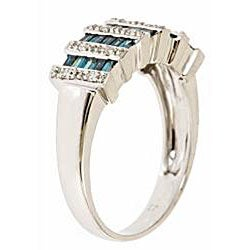 D'Yach 14k Gold 5/8ct TDW Blue and White Diamond Cocktail Ring (I-J, I1-I2)