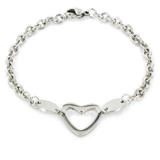 ELYA Stainless Steel Polished Heart Cut-out Charm Bracelet https://ak1.ostkcdn.com/images/products/5248004/P13069100.jpg?impolicy=medium