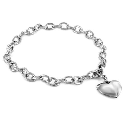 ELYA High Polished Heart Charm Stainless Steel Bracelet