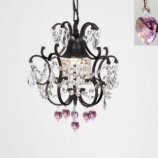 Gallery Versailles 1-light Black/ Crystal Hearts Mini Chandelier