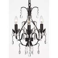 Gallery Versailles Three-Light Black Indoor Crystal Mini Chandelier