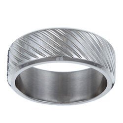 Kabella Men's Stainless-Steel Diagonal-Groove Band Ring