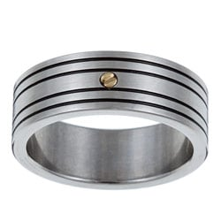 Kabella Men's Stainless-Steel 18-karat Gold Accent Band Ring
