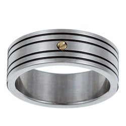Kabella Men S Stainless Steel 18 Karat Gold Accent Band Ring