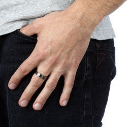 Kabella Men's Stainless-Steel Jigsaw Band Ring