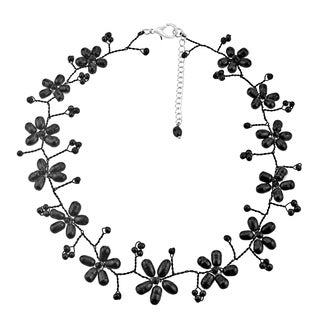 Handmade Intricate Black Pearl Flower Link Necklace (3-10 mm) (Thailand)