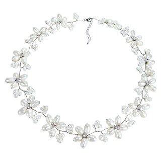 Handmade Intricate White Pearl Flower Link Necklace (3-10 mm) (Thailand)