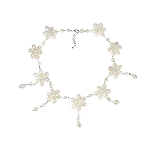 Handmade White Pearl Flower Link Drop Necklace (3-11 mm) (Thailand)