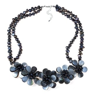 Handmade Silver Black Pearl Floral Necklace (Thailand)