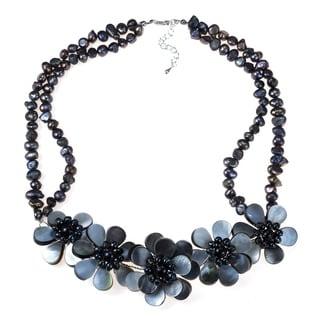 Silver Black Pearl Floral Necklace (Thailand)
