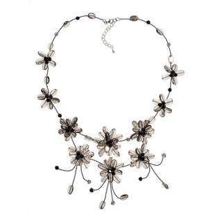 Handmade Floating Smoky Flower Garland Necklace (Thailand)