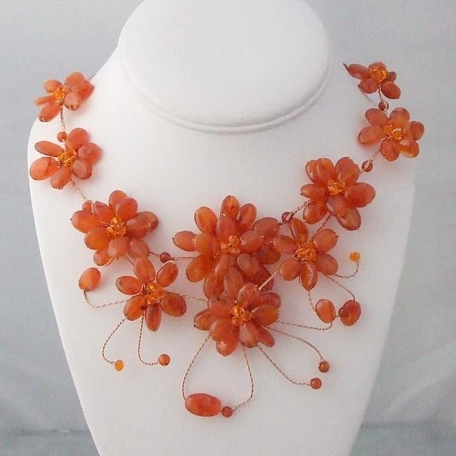Handmade Floating Tangerine Flower Garland Necklace (Thailand)