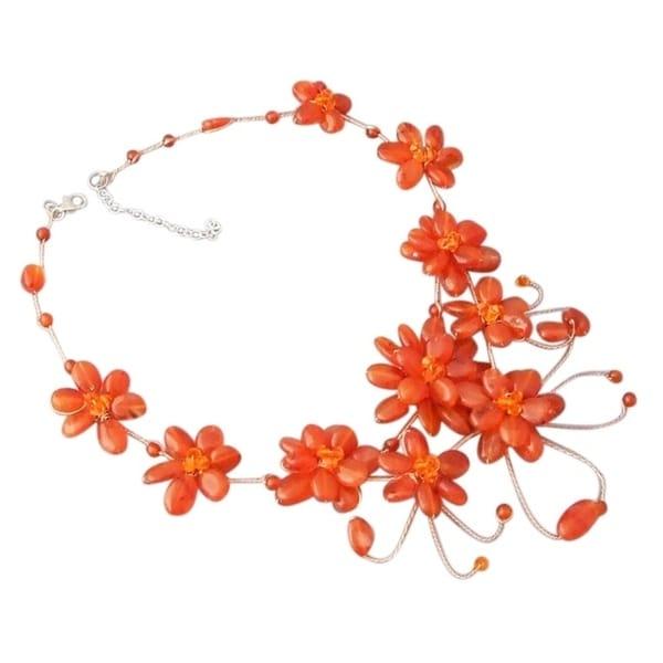 Handmade Floating Orange Flower Garland Silver Necklace (Thailand)
