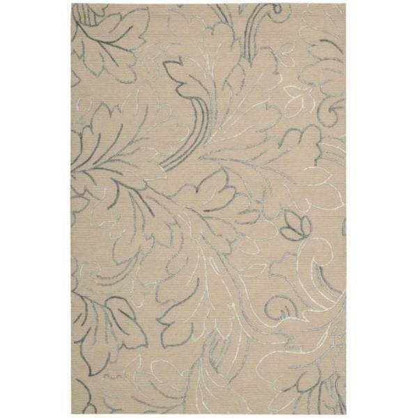 Nourison Sorrento Natural Floral Wool Rug