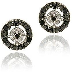 DB Designs Sterling Silver 1/8ct TDW Black Diamond Circle Earrings