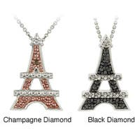 DB Designs Sterling Silver Diamond Accent Eiffel Tower Necklace