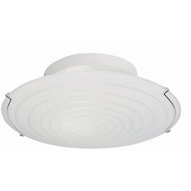 Contemporary 2-light 15-inch Semi-flush White Fluorescent Ceiling Light