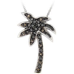 DB Designs Sterling Silver 1/10ct TDW Brown Diamond Palm Tree Necklace