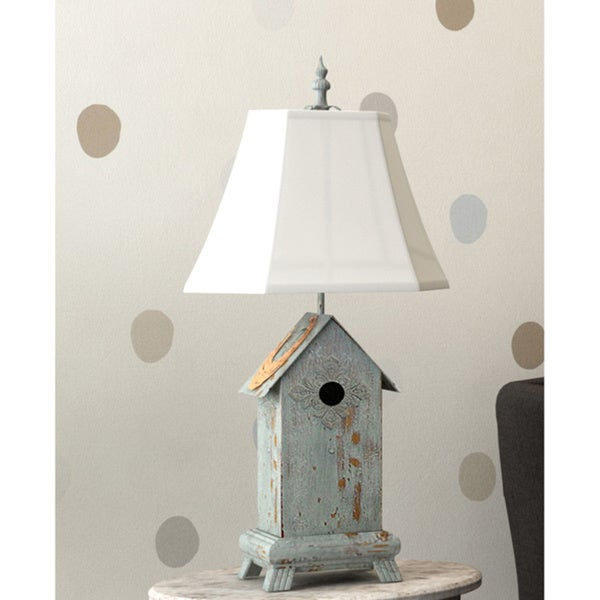 Blue Birdhouse Wooden Table Lamp