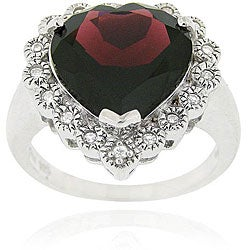 Glitzy Rocks Sterling Silver Garnet and Cubic Zirconia Heart Ring