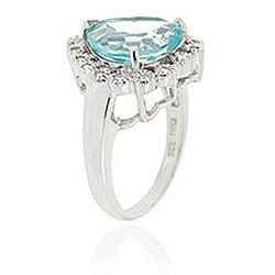 Glitzy Rocks Sterling Silver Blue Topaz and Cubic Zirconia Heart Ring - Thumbnail 1