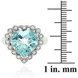 Glitzy Rocks Sterling Silver Blue Topaz and Cubic Zirconia Heart Ring - Thumbnail 2